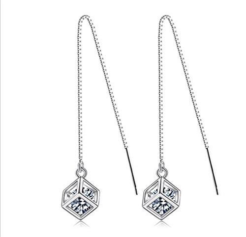 Pendientes para mujer de plata de ley 925 con forma de cubo con circonitas brillantes, hipoalergénicos