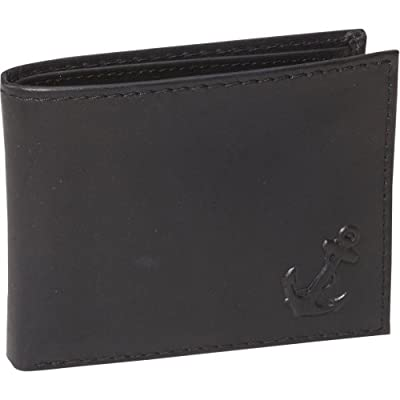 Nautica Men's Genuine Leather Bifold Passcase Wallet Black