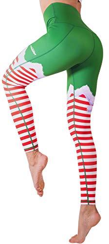 COOLOMG Women's Christmas Leggings Ugly Santa Funny Costume Tights Full-Length Xmas Yoga Workout High Waisted Pants L Green