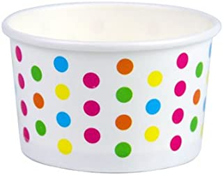 Yocup 3 oz. Polka Dot Rainbow Paper Ice Cream/Frozen Dessert Cup - 100 ct