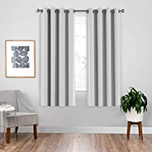 downluxe Greyish White Blackout Lined Curtains - 3 Thick Layers Completely Blackout Grommet Window Treatment Thermal Insulated Drapes for Kitchen (1 Pair, 52 Inches Width x 63 Inches Length)