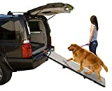 Pet Gear Tri-Fold Ramp 71 Inch Long Extra Wide Portable Pet Ramp for Dogs/Cats up to 200lbs, Patented Compact/Easy Fold with Safety Tether, Black/Gray, not carpeted, Extra Wide, Tri Fold