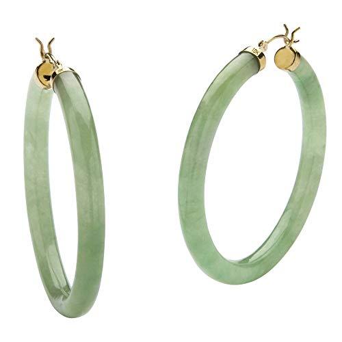 10K Yellow Gold Round Genuine Green Jade Hoop Earrings (45mm)