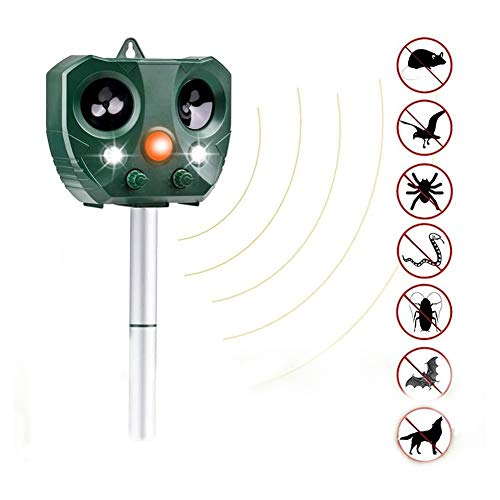 Mole Control Ultrasonic Animal Waterproof Repeller,with 2 Speakers For Garden Yard Field Farm Cat Fox Dog Scarer Deterrent