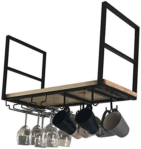 WSJ Schönes Küchengeschirr – Regal zum Aufhängen, hohe Füße für Tassen und Kaffeetassen, Trennwand für Zuhause, Weinregal, Wasserbecher, Farbe: Schwarz, Größe: 60 x 30 x 50 cm, Schwarz , 100*30*50CM