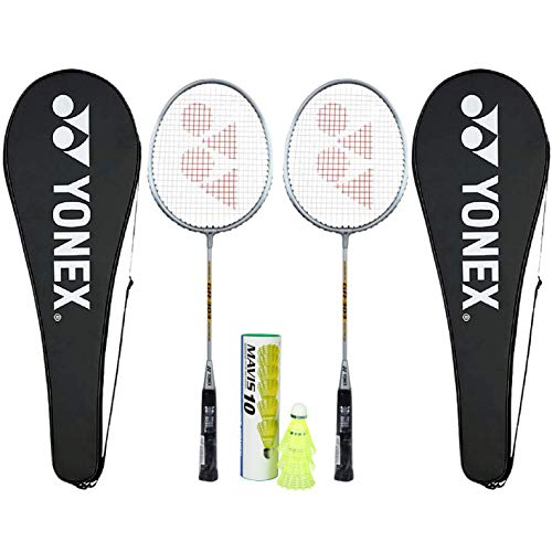 YONEX Beginner's Best Badminton Combo (GR 303 Aluminum Blend Racquet with Full Cover, Set of 2 -Silver + Mavis 10 Shuttlecock, Pack of 6)