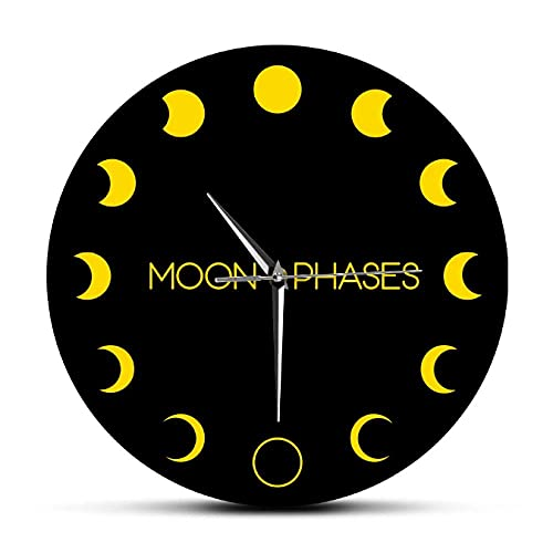 LTMJWTX Reloj de Pared Grande acrílico Impreso con Fases de Eclipse de Luna Amarilla, Icono de astronomía, Concepto de astrología, Reloj de Pared con decoración de Sombra y luz de luna-30X30cm