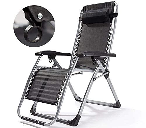 FVGBHN Klappbarer Recliner Zero Gravity Chair Klappbarer Stuhl, Garden Lounge Chair, Zero Gravity Sun Lounge Chair, Camping Outdoor Klappbettstuhl, Kopfstütze Und Tablett-1