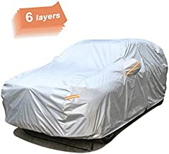 SEAZEN 6 Layers SUV Car Cover Waterproof All Weather, Outdoor Car Covers for Automobiles with Zipper Door, Hail UV Snow Wind Protection, Universal Full Car Cover(176