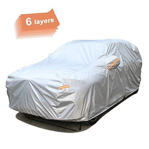 """SEAZEN 6 Layers SUV Car Cover Waterproof All Weather, Outdoor Car Covers for Automobiles with Zipper Door, Hail UV Snow Wind Protection, Universal Full Car Cover(176"""" to 191"""")"""