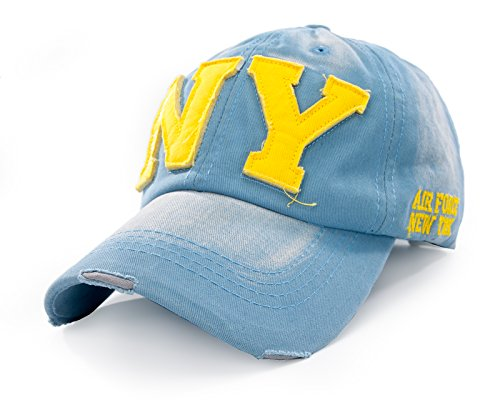4sold JM Casquette visière Plate Homme Femme Hip hop Fashion NY New York (NY Light Blue Yellow)
