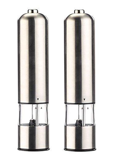 Rosenstein & Söhne Salzstreuer: Elektrische Salz- /Pfeffermühle mit Keramik-Mahlwerk, 22,5 cm, 2er-Set (Salz Pfeffer Mühle elektrisch)