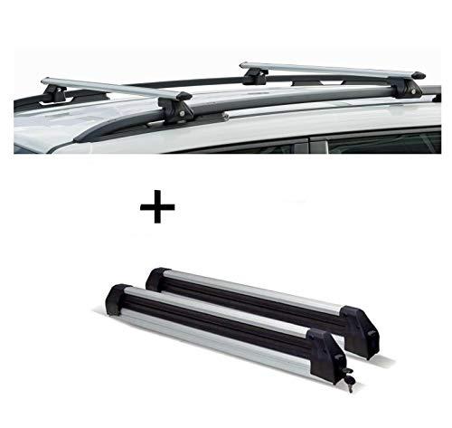 VDP Relingträger CRV120A + Skiträger/Snowboardträger/Skihalter Silve Ice ausziehbar kompatibel mit Volkswagen Tiguan 07-16