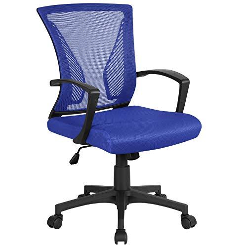 Yaheetech Bürostuhl Schreibtischstuhl ergonomischer Drehstuhl Chefsessel höhenverstellbar Sportsitz Mesh Netz Stuhl Blau