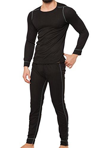 Celodoro CFLEX - Set de ropa térmica y Para esquí Para Hombre - Camiseta y pantalón - Tecnología POLARDRY - Negro/Gris - X-Large