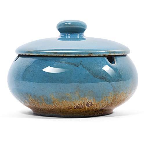 NUOMAN Cenicero de cerámica con tapas para cigarrillos, cenicero resistente al viento para uso en interiores y exteriores, patio, hogar, oficina, soporte para cenizas para...