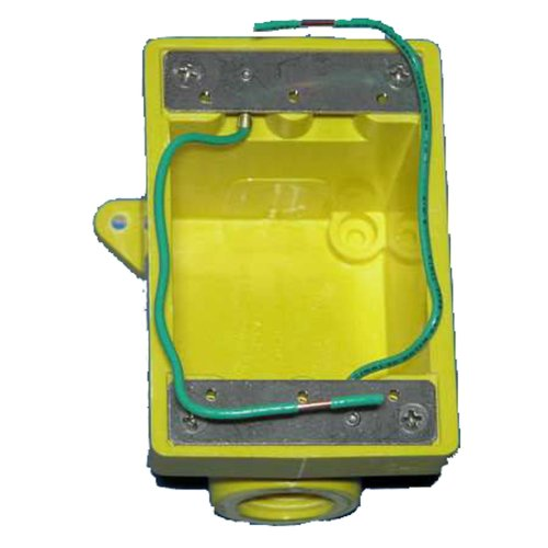 """Marinco 6083CR Marine FD Box for 15, 20, 30, and 50-Amp Receptacles, and 7420CR and 7788CR Covers (Two 3/4"""" Knockout Holes, Yellow)"""