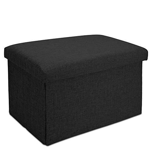 Intirilife Faltbare Sitzbank 49x30x30 cm in Diamant SCHWARZ - Sitzwürfel mit Stauraum und Deckel aus Stoff in Leinen Optik - Sitzcube Fußablage Aufbewahrungsbox Truhe Sitzhocker