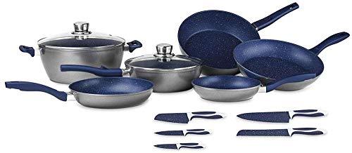FlavorStone | Batería de Cocina Family Set | 1 Set de Baterías de Cocina | Incluye: 5 Sartenes, 1 Cacerola,2 Tapas de Vidrio Templado y 5 cuchillos | Color Mayan Blue