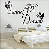 Xxscz Sweet Dreams Butterfly Love Cita Pegatinas Calcomanías De Pared Extraíbles Para Dormitorio Pegatinas De Pared De Vinilo Diy Para La Habitación Del Bebé Palabras Mural
