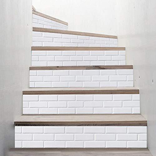 Byrhgood 6 unids/Set 3D cerámica de cerámica Escalera Escalera elevadora Piso Pegatina autoadhesiva DIY Escalera Impermeable PVC Papel de Pared decoración del hogar