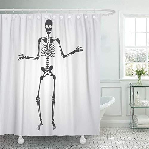 NA Cortina de Ducha Decorativa Esqueleto y Huesos de Dibujos Animados Anatomía del Cuerpo Húmero Humano Silueta Espina Dorsal Impermeable Resistente al Moho Cortinas de baño con Ganchos