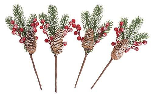 VBS Tannenzweige mit Beeren und Zapfen, 4er-Set, Weihnachts-Dekoration