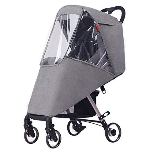 ZUQ Protector para La Lluvia para Cochecito en Tándem, Universal Cubierta para Lluvia Doble Delantera y Trasera para Silla de Paseo para Protección del Bebé Gris Talla única