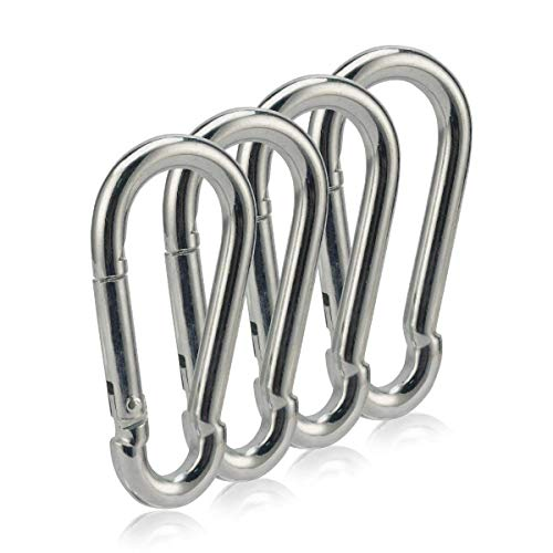 OWAYOTO Carabiner 3 Inch Spring Snap Hook Heavy Duty Steel Clip 4pcs 8x80mm for Hammock Swing Outdoor Camping Hiking