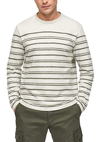 s.Oliver Herren Langarmshirt mit Querstreifen offwhite stripes XXL