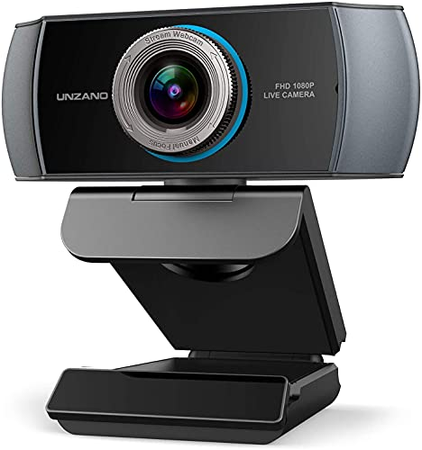 Full HD Webcam 1080P, Streaming Camera, Webcam with Microphone, Wide Angle USB Computer Camera with Facial-Enhancement Tech, Webcam for Desktop Laptop PC Mac, Video Conferencing, Skype, YouTube