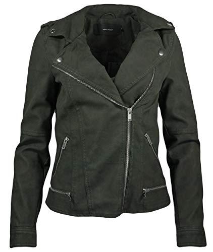 VERO MODA vmworld Damen Jacke Bikerjacke | Kurze Kunst-Lederjacke für Frauen | Übergangsjacke, Größe:M
