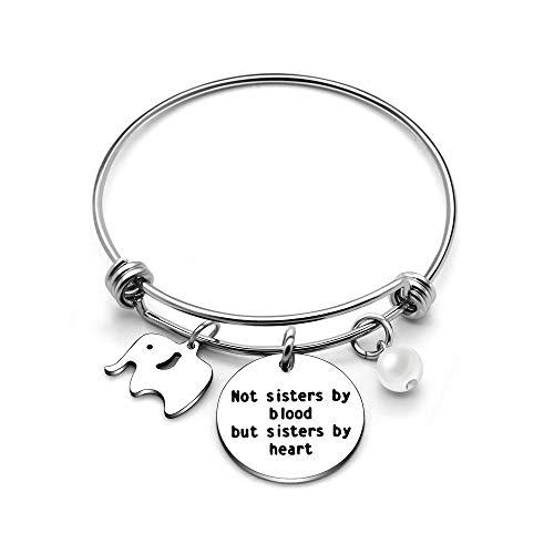 Armreif beste Freunde, Schwestern, mit Elefant, Abschlussgeschenk–Not Sisters By Blood But Sisters By Heart