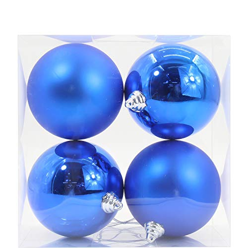 4pcs Christmas Balls Ornaments Various Sizes Shatterproof Ornaments Balls for Holiday Wedding Party Decoration Christmas Tree Hanging Ball Size 1.63 inches ~ 6.12 inches (Blue, 120mm/4.89')