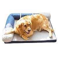 帅帅ペット用品 記憶スポンジおよび取り外し可能なカバーが付いている整形外科のシェルパの上のペットベッド (Color : Blue, Size : L 60×45×15cm)