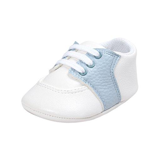 Zapatos para bebés, Auxma Recién Nacido Infantil bebé niñas niños Cuna Suela Suave Zapatos Antideslizantes Zapatos Primeros Pasos para 0-6 6-12 12-18 Meses (12cm/6-12 M, Cielo Azul)