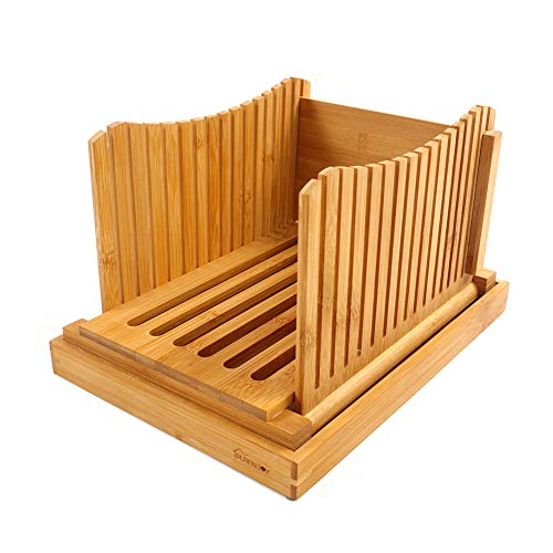 Purenjoy Bamboo Wood Foldable Bread Slicer Compact Bread Slicing Guide with Crumb Catcher Tray for Homemade Bread Thickness Adjustable