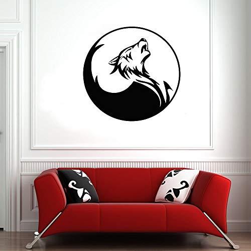 SUPWALS Pegatinas de pared Yin Yang Tatuajes De Pared Lobo Perro Animales Arte Puerta Ventana Vinilo Pegatinas Tatuaje Tienda Hombre Cueva Dormitorio Decoración De Interiores Papel Pintado 57X58Cm