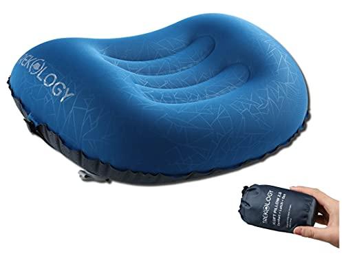 Trekology Almohada de Camping y Viaje Inflable Ultraligera – ALUFT 2.0 Comprimible, compacta, cómoda, Almohada Hinchable ergonómica para el Cuello y el Apoyo Lumbar para IR de Camping