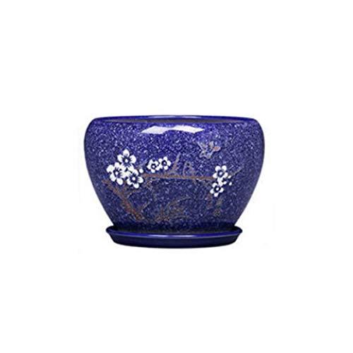 Vaso di fiori in ceramica, con vassoio Vaso di fiori, grande vaso da fiori for interni in vaso con orchidea appesa, creativo semplice piatto di ravanello verde, blu scuro (Size : Dark blue)