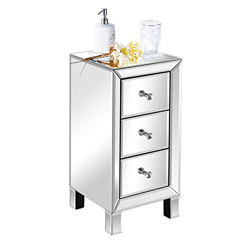 VINGLI Mirrored Nightstand with 3-Drawers Silver Side End Table Mirrored Furniture for Small Space, Bedroom, Living Room