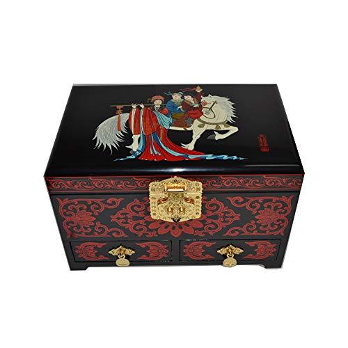 LWW Caja Joyero Chino,Joyero Collar clásico Pendientes de Estilo Retro Caja de almacenaje de Anillos Muebles y Regalos orientales