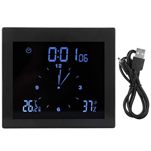 Reloj termohigrómetro, práctico reloj con pantalla táctil, para cronometrar la hora Office Home(black)