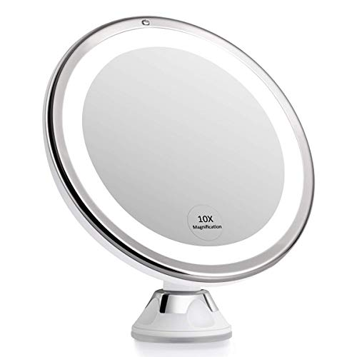KEDSUM 2020 Newest 7.8'' 10X Magnifying MakeupMirror with Lights, Dimmable Lighted Magnifying Mirror for Bathroom, Dual Power Supply, Powerful Suction Cup, USB or Battery Operated