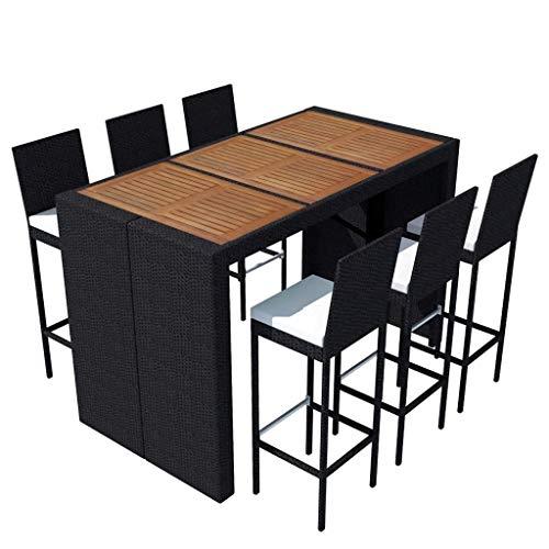Tidyard Garten-Essgruppe 13-TLG. Gartenmöbel Gartenset Sitzgarnitur, aus Polyrattan und Akazienholz-Tischplatte, inkl 1 x Bartisch, 6 x Barhocker, 6 x Sitzpolster