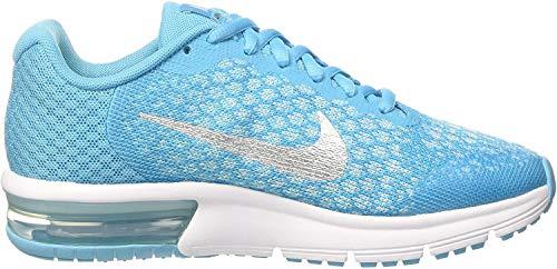 Nike Jungen und Mädchen Air Max Sequent 2 Gs Turnschuhe Türkis (Chlorine MTLC Silver/Polarized Glacier Blue/White/Volt), 36 EU