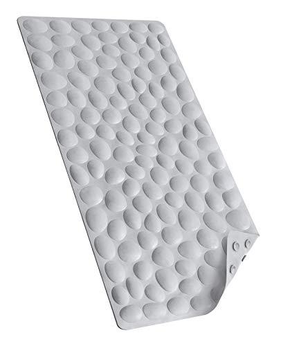 Bligli Non-Slip Bathtub Mat, Soft Rubber Anti-Slip Bathroom Bath Shower Mat Tub Mats with Strong Suction Cups, 100% BPA Free (Grey)