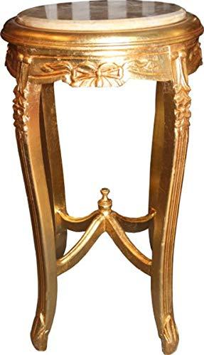 Casa Padrino Barock Beistelltisch mit Marmorplatte Rund Gold 70 x 40 cm Antik Stil