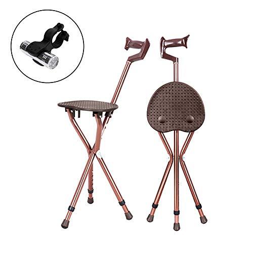 NICEWL 3-benige cane-vouwstoel verstelbare hoogte, aluminiumlegering telescopische anti-slip riet stoel, oudere gehandicapten buiten wandelen Trekking