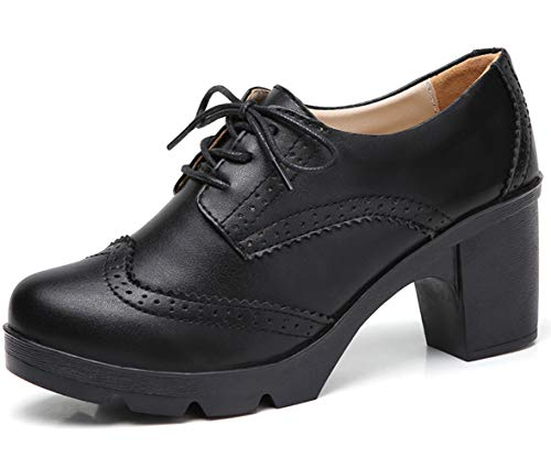 DADAWEN Women's Leather Classic Lace Up Platform Chunky Mid-Heel Square Toe Oxfords Dress Pump Shoes Black US Size 8